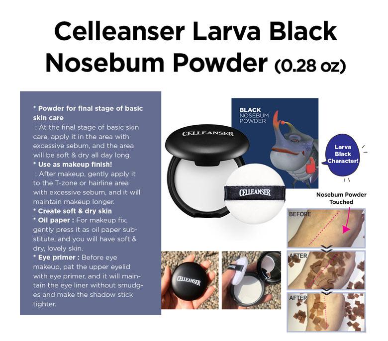 Kết quả hình ảnh cho CELLEANSER I Larva Black No-Sebum Powder